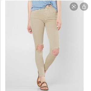 Free People High Waist Busted Knee Jeans in Khaki